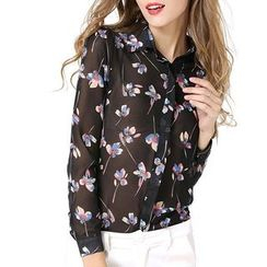 LIVA GIRL - Floral Print Chiffon Shirt