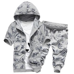 Bay Go Mall - Set: Short-Sleeve Hooded Jacket + Cropped Sweatpants