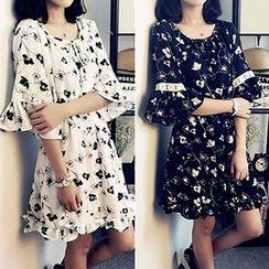 lilygirl - Floral Print Ruffle Trim Chiffon Dress