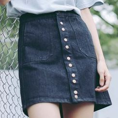SUYISODA - A-Line Buttoned Denim Skirt