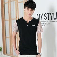 Walwa - Short-Sleeve Striped Panel T-Shirt