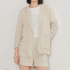Heynew - Set: Notch Lapel 3/4 Sleeve Blazer + High Waist Shorts