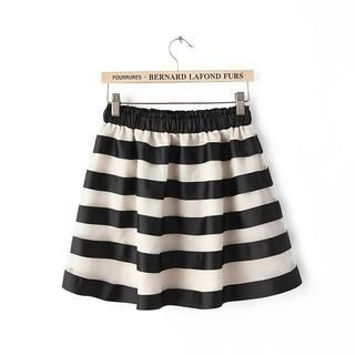 JVL - Elastic-Waist Striped Tulle Skirt