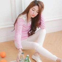 Tokyo Fashion - Long-Sleeve Lace Panel Striped T-Shirt