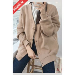 MICHYEORA - Brushed-Fleece Lined Cardigan