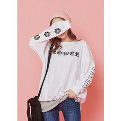 J-ANN - Lettering Loose-Fit Sweatshirt