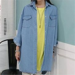 CHICFOX - Dual Pocket Denim Long Shirt