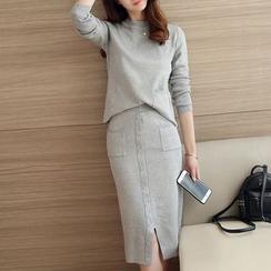 Bubbleknot - Set: Plain Knit Top + Skirt