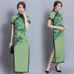 Diosa - Long-Sleeve Printed Cheongsam