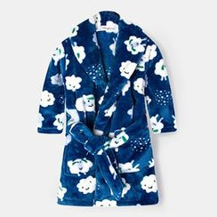 Yobaby - Cloud Print Kids Coral Fleece Robe