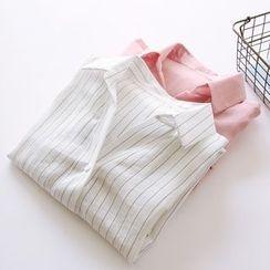 Bonbon - Pinstriped Half-Placket Shirt