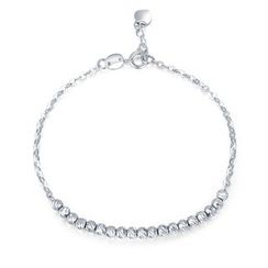 MaBelle - 14K White Gold Diamond Cut Beads Bracelet (17.5cm)