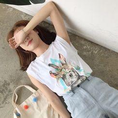 MATO - Rabbit Print Sleeveless T-Shirt