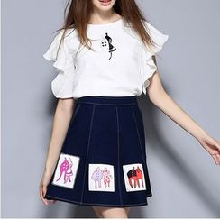 Rosesong - Set: Frill Trim Short Sleeve Top + Printed Applique Denim Skirt