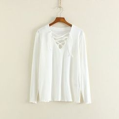 Mushi - Lace-Up Ribbed Long-Sleeve T-Shirt