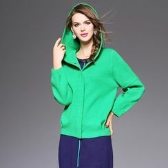 Ozipan - Drop-Shoulder Wool Blend Hooded Jacket