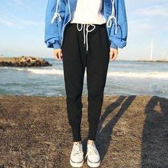YUKISHU - Plain Drawstring Jogger Pants