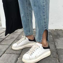 Shine On Me - Slit Wide Leg Jeans