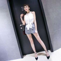 唐家歐美 - 雙排扣裙褲