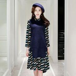 Romantica - 套裝: 長袖印花連衣裙 + 長款針織背心