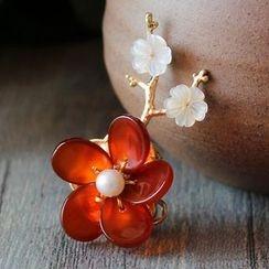 Green Finch - Jeweled Flower Brooch