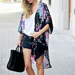Chicsense - Printed Asymmetric-Hem Kimono Jacket