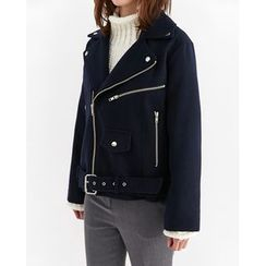 Someday, if - Wool Blend Biker Jacket with Belt
