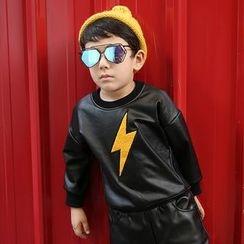 Lemony dudu - Kids Lightning Applique Faux Leather Pullover
