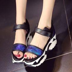 JY Shoes - Platform Sequined Sandals