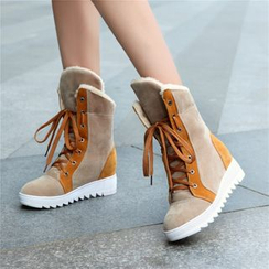 Pretty in Boots - Fleece-lined Hidden Wedge High-top Sneakers