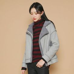 Envy Look - Diagonal-Zip Faux-Shearling Jacket