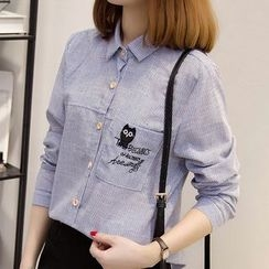 lilygirl - Embroidered Striped Shirt