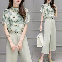 Ashlee - Set: Floral Printed Short Sleeve Blouse + Cropped Wide Leg Pants