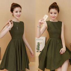 EFO - Sleeveless Shirred A-Line Dress