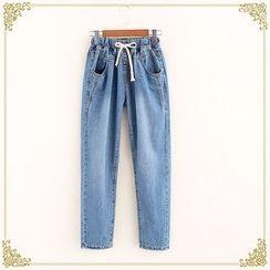 Fairyland - Drawstring Straight-Cut Jeans