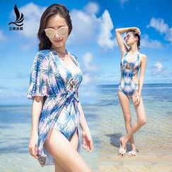 rosiwini - Set: Printed Swimsuit + Cover Dress