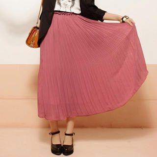 CatWorld - Frill-Trim Pleated Maxi Skirt