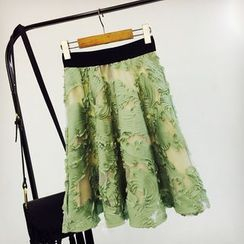 Cotton Candy - Embroidered A-line Midi Skirt