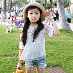 Cuckoo - Kids Elbow-Sleeve Lace Blouse