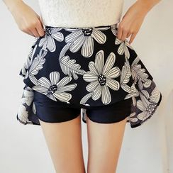 Loverac - Floral Print Inset Shorts A-Line Skirt