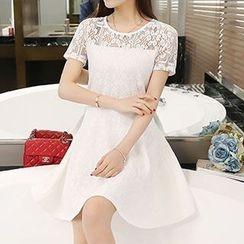 Arroba - Short-Sleeve Lace Panel Dress