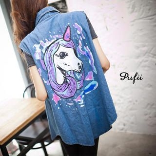 PUFII - Unicorn Printed Long Denim Vest
