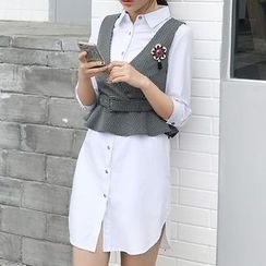 Mukouf - Set: 3/4-Sleeve Shirt Dress + Vest