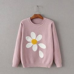 Blue Rose - Flower Embroidered Sweater