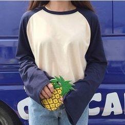 時尚麻豆家 - 插肩長袖T恤