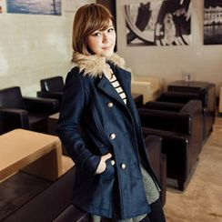 Tokyo Fashion - Faux-Fur-Collar Double-Breasted Coat