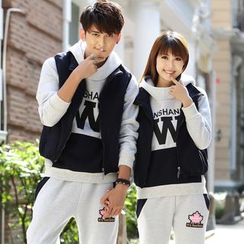 Igsoo - Set: Matching Couple Hooded Pullover + Sweatpants + Zip Vest