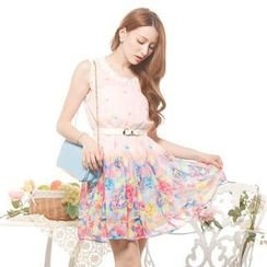 Tokyo Fashion - Beaded Lace-Trim Floral Sleeveless Dress