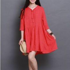 Clover Dream - 3/4-Sleeve Pleated A-line Dress