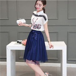 wisperia - Set: Printed Chiffon Blouse + Skirt